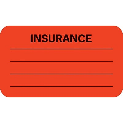Insurance Chart File Medical Labels, Insurance/Lines, Fluorescent Red, 7/8x1-1/2, 500 Labels