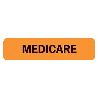 Medical Arts Press® Insurance Chart File Medical Labels, Medicare, Fluorescent Orange, 5/16x1-1/4, 500 Labels