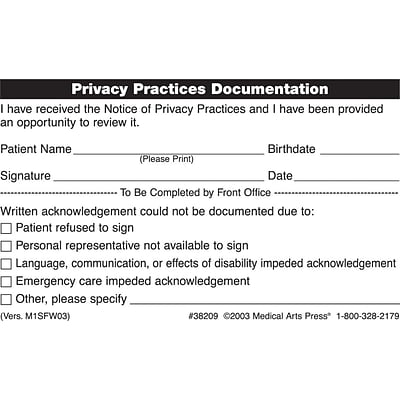 Patient Record Labels, Privacy Practices Documentation, White, 2-1/2x4, 100 Labels