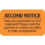 Collection & Notice Collection Labels, Second Notice, Fl Orange, 7/8x1-1/2, 500 Labels