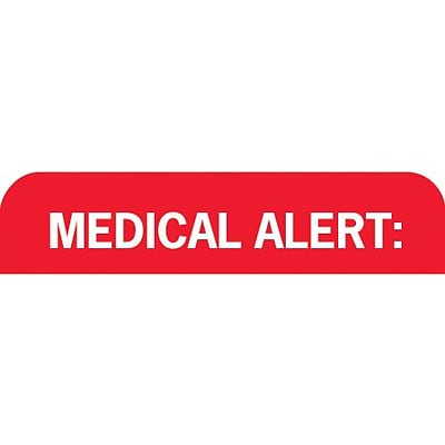 Medical Arts Press® Chart Alert Medical Labels, Medical Alert, Red and White, 7/8x1-1/2, 500 Labels