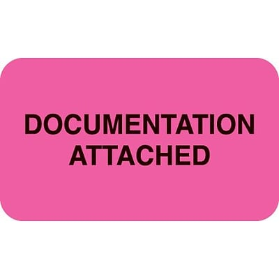 Medical Arts Press® Insurance Carrier Collection Labels, Documentation Attached, Fl Pink, 7/8x1-1/2, 500 Labels