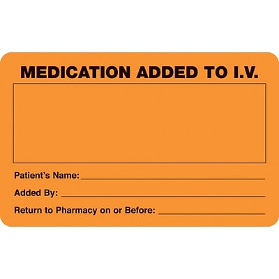 IV/Medication Labels, Medication Added to I.V., Orange, 2-1/2x4, 100 Labels