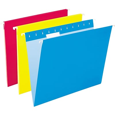 Pendaflex Hanging File Folders, 1/5 Tab, Letter, Assorted Colors, 25/Box (ESS81612)