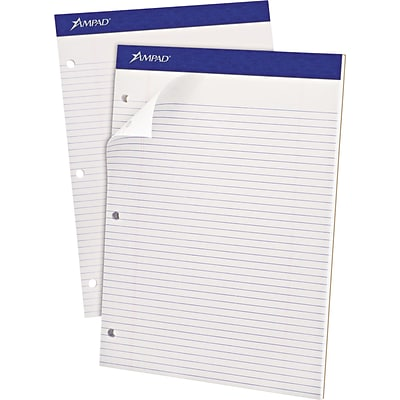 Ampad Double Sheet Pad, Narrow/Margin Ruled Pad, 8-1/2 x 11-3/4, White, 100 Sheets