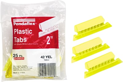 Pendaflex Hanging File Folder Tabs, 1/5 Tab, Two Inch, Yellow Tab/White Insert, 25/Pack (PFX 42 YEL)