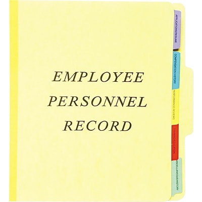 Pendaflex Vertical Personnel Folders, 1/3 Cut Top Tab, Letter, Yellow