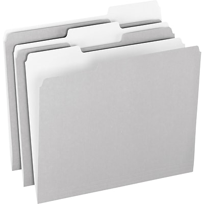 Pendaflex® Colored File Folders, Letter, Gray/Light Gray, 100/Box (1521/3GRA)