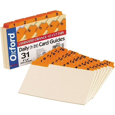 Oxford Laminated Tab Index Card Guides, Daily, 1/5 Tab, Manila, 4 x 6, 31/Set