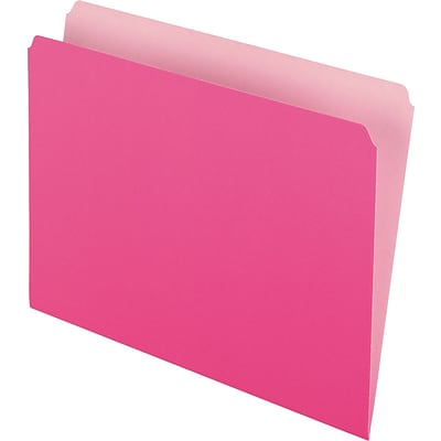 Pendaflex Two-Tone File Folder, Straight Cut, Letter Size, Pink, 100/Box (PFX 152 PIN)