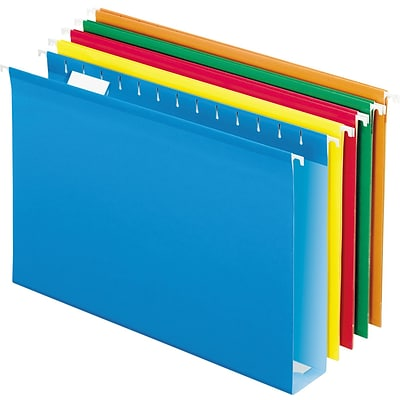 Pendaflex Reinforced Recycled Hanging File Folder, 2 Expansion, 5-Tab Tab, Legal Size, Assorted Colors, 25/Box
