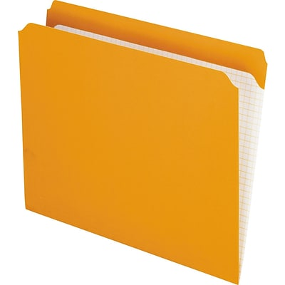 Pendaflex Reinforced Top Tab File Folders, Straight Cut, Letter, Orange, 100/Box