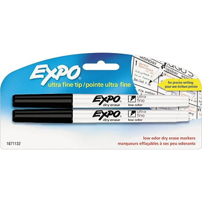 Expo Low-Odor Dry-Erase Marker, Ultra Fine Point, Black, 2/Pack