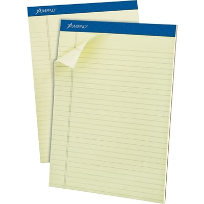 Ampad Pastel Pads, Legal/Wide Rule, Letter, Green Tint, Micro Perforated, 50-Sheets, Dozen