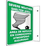 Accuform Signs® Severe Weather Shelter Area Projection Sign, Black/Blue/White, 12H x 9W, 1/Pack (S