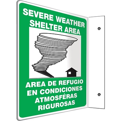 Accuform Signs® Severe Weather Shelter Area Projection Sign, Black/Blue/White, 12H x 9W, 1/Pack (SBPSP442)