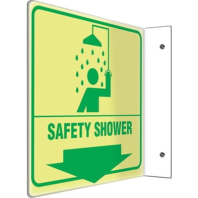 Accuform Signs® Safety Shower Projection Sign, Green, 8H x 8W, 1/Pack