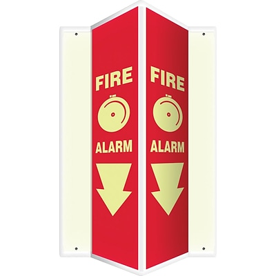Accuform Signs® Fire Alarm Projection Sign, White/Red, 24H x 4W, 1/Pack (PSP327)