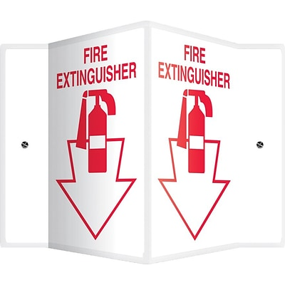 Accuform Signs® Fire Extinguisher Projection Sign, Red/White, 12H x 9W, 1/Pack (PSP361)