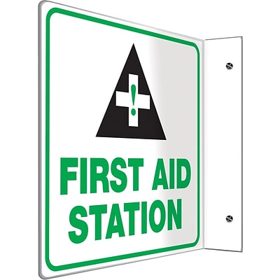 Accuform Signs® First Aid Station Projection Sign, Green/Black/White, 8H x 8W, 1/Pack