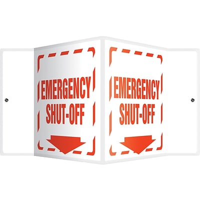 Accuform Signs® Emergency Shut-Off Projection Sign, Red/White, 6H x 5W, 1/Pack