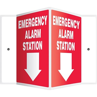 Accuform Signs® Emergency Alarm Station Projection Sign, White/Red, 12H x 9W, 1/Pack (PSP326)