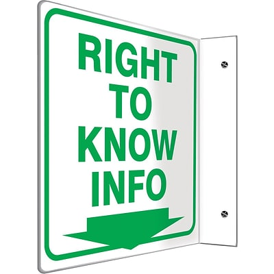 Accuform Signs® Right To Know Info Projection Sign, Green/White, 8H x 8W, 1/Pack