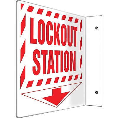 Accuform Signs® Lockout Station Projection Sign, Red/White, 8H x 8W, 1/Pack