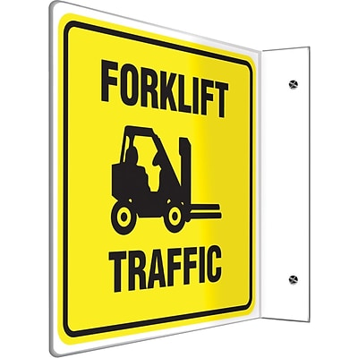 Accuform Signs® Forklift Traffic Projection Sign, Black/Yellow, 8H x 8W, 1/Pack