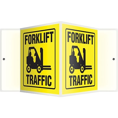 Accuform Signs® Forklift Traffic Projection Sign, Black/Yellow, 6H x 5W, 1/Pack