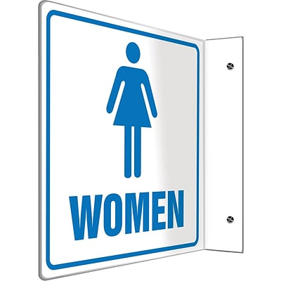 Accuform Signs® Women Restroom Projection Sign, Blue/White, 8H x 8W, 1/Pack
