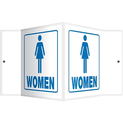 Accuform Signs® Women Restroom Projection Sign, Blue/White, 6H x 5W, 1/Pack