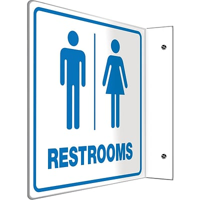Accuform Signs® Restroom Projection Sign, Blue/White, 8H x 8W, 1/Pack