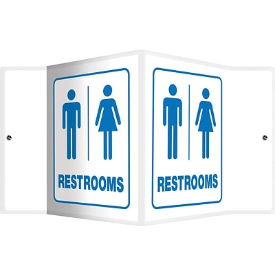 Accuform Signs® Restroom Projection Sign, Blue/White, 6H x 5W, 1/Pack