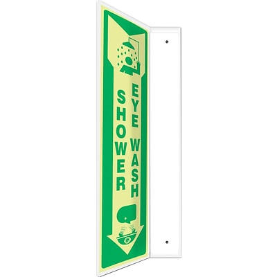 Accuform Signs® Shower Eye Wash Projection Sign, Green/White, 18H x 4W, 1/Pack (PSP914)