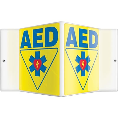 Accuform Signs® AED Projection Sign, Blue/Yellow, 6H x 5W, 1/Pack