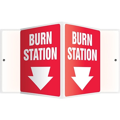 Accuform Signs® Burn Station Projection Sign, White/Red, 6H x 5W, 1/Pack
