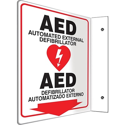 Accuform Signs® AED Automated External Defibrillator.. Projection Sign, Black/Red/White, 12H x 9W