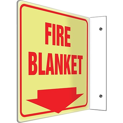Accuform Signs® Fire Blanket Projection Sign, Red, 8H x 8W, 1/Pack