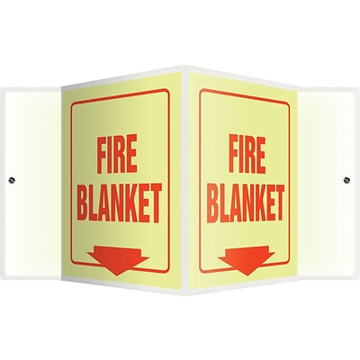 Accuform Signs® Fire Blanket Projection Sign, Red, 6H x 5W, 1/Pack