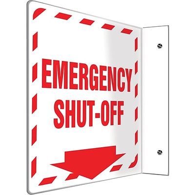 Accuform Signs® Emergency Shut-Off Projection Sign, Red/White, 8H x 8W, 1/Pack