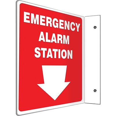 Accuform Signs® Emergency Alarm Station Projection Sign, White/Red, 12H x 9W, 1/Pack (PSP415)