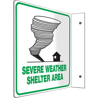 Accuform Signs® Severe Weather Shelter Area Projection Sign, Green/White, 8H x 8W, 1/Pack
