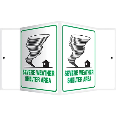 Accuform Signs® Severe Weather Shelter Area Projection Sign, Green/White, 6H x 5W, 1/Pack