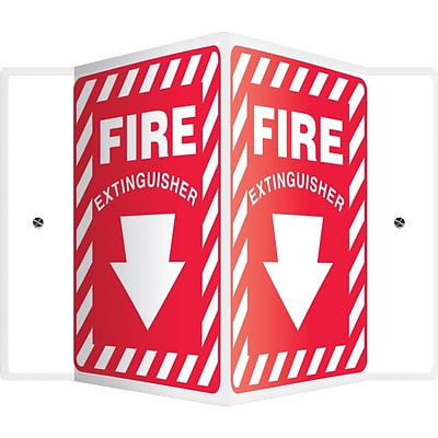 Accuform Signs® Fire Extinguisher Projection Sign, White/Red, 12H x 9W, 1/Pack