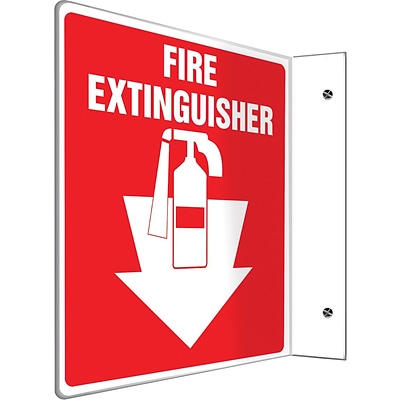 Accuform Signs® Fire Extinguisher Projection Sign, White/Red, 8H x 8W, 1/Pack (PSP707)