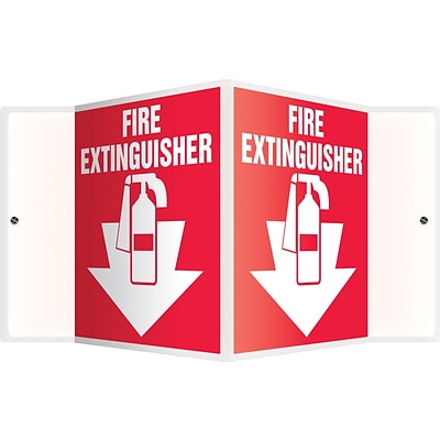 Accuform Signs® Fire Extinguisher Projection Sign, White/Red, 6H x 5W, 1/Pack