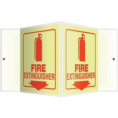Accuform Signs® Fire Extinguisher Projection Sign, Red, 6H x 5W, 1/Pack