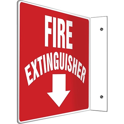 Accuform Signs® Fire Extinguisher Projection Sign, White/Red, 8H x 12W, 1/Pack (PSP219)