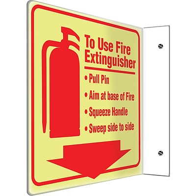 Accuform Signs® To Use Fire Extinguisher Projection Sign, Red, 8H x 8W, 1/Pack
